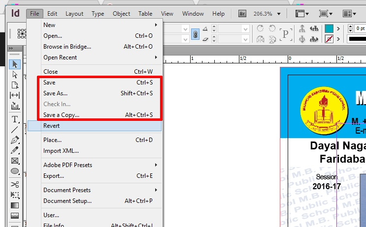 indesign-save-command