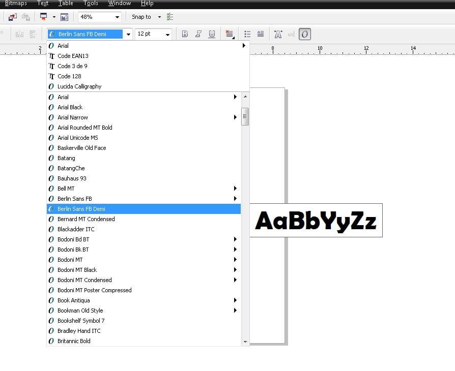 Change font style in CorelDraw