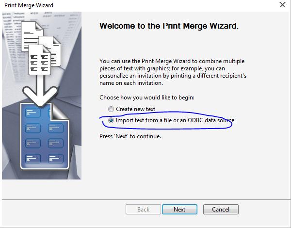 Import Text Data - Print Merge Command