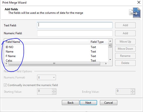 Data field in Print Merge Command