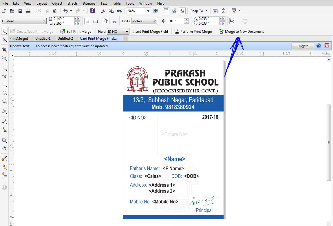 School I D Cards - Print Merge Command