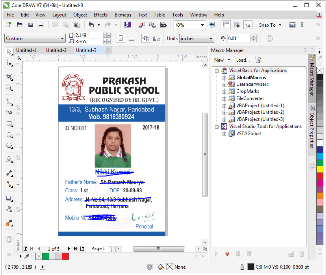 School ID Cards in 2 Minutes in CorelDraw