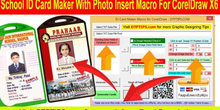 Coredraw Id Card Maker Macro with Barcode and Photograph