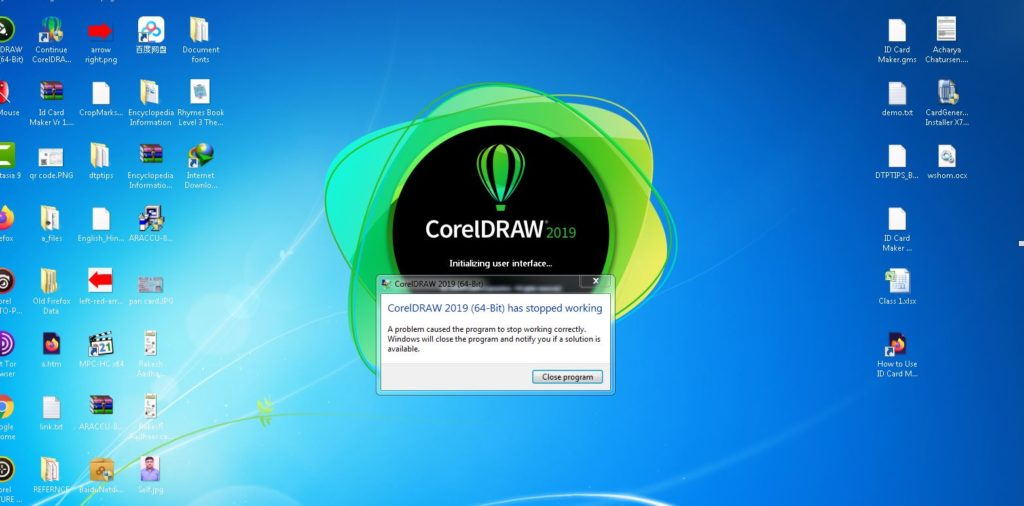CorelDraw 2019 has stopped working