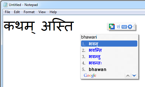 How to install Google Input Tools For Sanskrit Language – Phonetic Typing